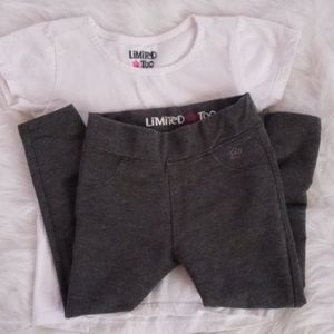 Limited Too White Top and Gray Leggings